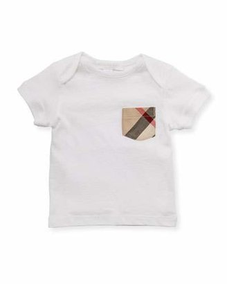 Burberry Check-Pocket Crewneck Tee, White, 3M-3Y $55 thestylecure.com
