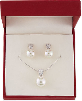 Majorica Pearl Earrings & Necklace Boxed Set