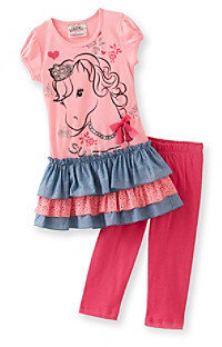 Beautees Girls' 4-6X Pink Horse Leggings Set
