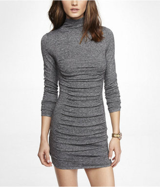Express Marled Mock Neck Ruched Sweater Dress
