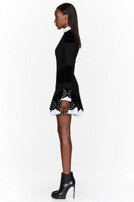 Alexander McQueen Black velvet laser-cut lace dress