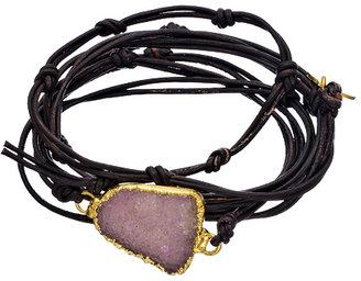 Nina Nguyen Bardot White Druzy Black Leather Wrap Bracelet
