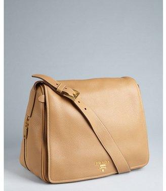 Prada natural brown pebbled leather fold-over shoulder bag
