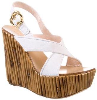 Casadei Suede and wood-effect wedges