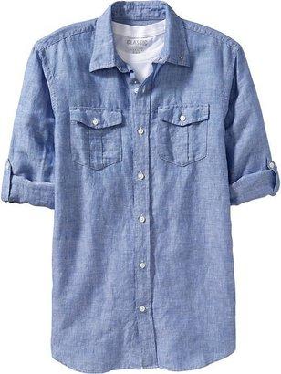 Old Navy Men's Regular Fit Roll-Sleeve Linen-Blend Shirts