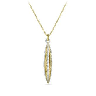 David Yurman Lantana Medium Pendant with Diamonds in Gold on Chain
