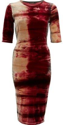 River Island Red tie dye velvet half sleeve column dress