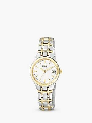 Citizen EW1264-50A Women's Eco-Drive Two Tone Bracelet Strap Watch, Gold/Silver