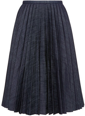 J.W.Anderson Pleated Denim A-Line Skirt Dark Denim