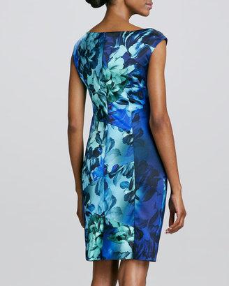 Kay Unger New York V-Neck Floral-Printed Cocktail Dress