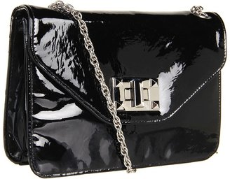 Jessica Simpson Natalie Flap Crossbody (Black Patent) - Bags and Luggage