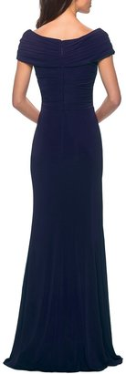 La Femme Short-Sleeve Ruched Jersey Gown Dress