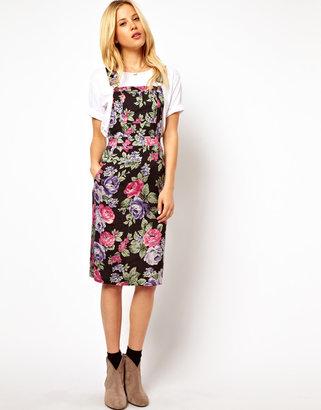 Asos Pinafore Midi Dress In Floral Print