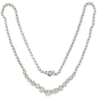 EFFY Bouquet 14 Kt. White Gold Graduated Diamond Flower Necklace