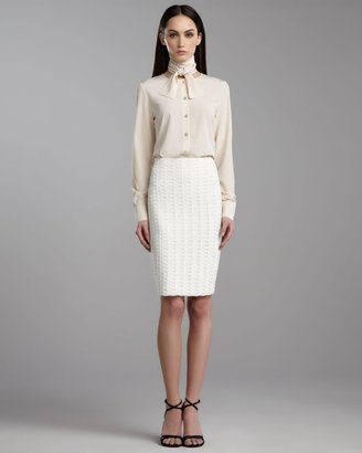 St. John Belgravia Tweed Pencil Skirt, Cream