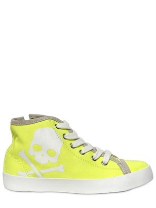Hydrogen Canvas Skull Printed High Top Sneakers