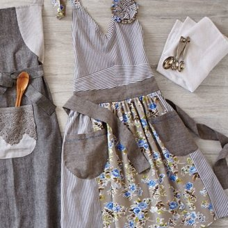 Sur La Table Blue Floral & Stripe Vintage-Inspired Apron