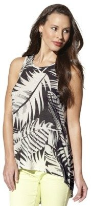 Mossimo Women's Sleeveless High-Low Tank Top -Olive Print