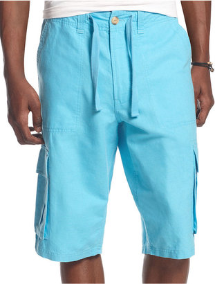 Sean John Shorts Big and Tall, Linen Cargo Shorts