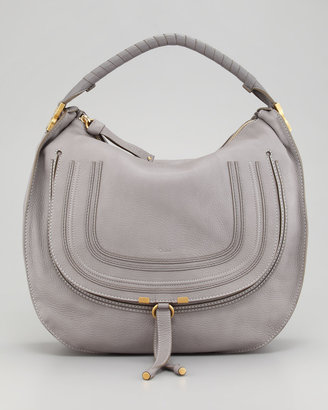 Chloé Marcie Large Leather Hobo Bag, Gray