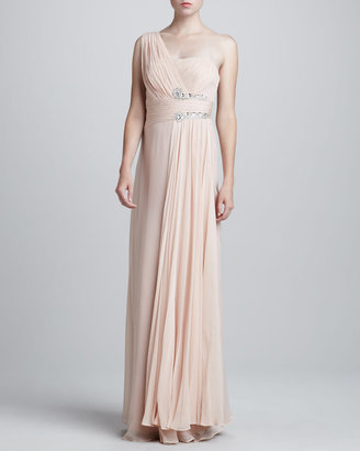 Notte by Marchesa One-Shoulder Grecian Gown, Blush