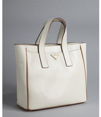Prada white leather small square tote bag
