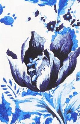 Oscar de la Renta Floral Print Poplin Tunic Dress
