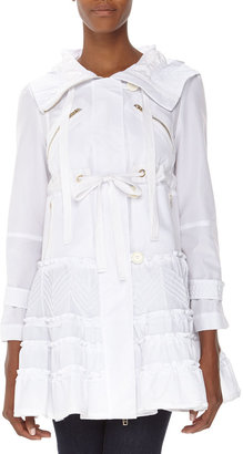 RED Valentino Bianco Hooded Tech Coat, White