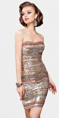 Scala Copper and Silver Striped Hi Shine Sequin Cocktail Dresses