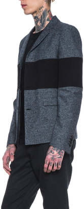 Kris Van Assche Cotton-Blend Textured Jacket in Black & White