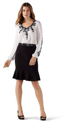 White House Black Market Floral Embroidered Peasant Blouse