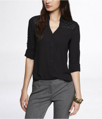 Express Quilted Yoke Convertible Sleeve Portofino Shirt