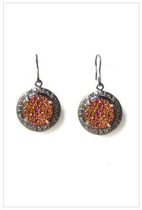 The Woods Pink Gold Agate and Raw Diamond Circle Earrings
