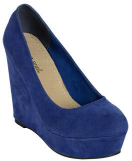 Wet Seal WetSeal Faux Suede Wedge Blue