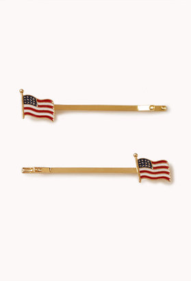 Forever 21 American Flag Hair Pin Set