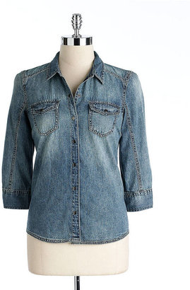 Calvin Klein Petite Cotton Denim Shirt