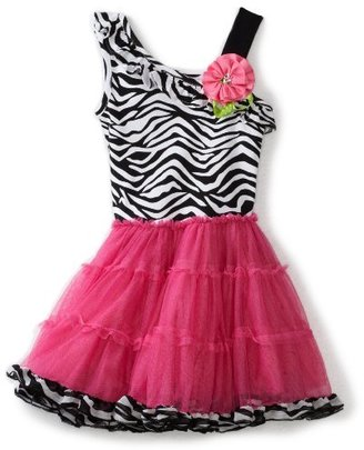 Rare Editions Girls 2-6X Zebra Print Tutu Dress