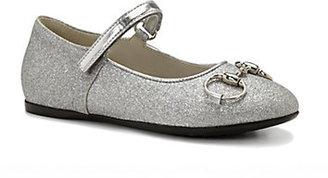 Gucci Kid's Shiny Horsebit Mary Jane Flats