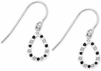 Macy's Black and White Diamond Accent Teardrop Earrings in Sterling Silver