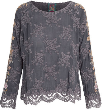 Johnny Was Paulina Embroidered Scalloped-Edge Blouse