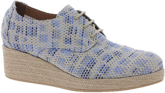 Sessun Bloom Blue Woven Lace Up Wedges