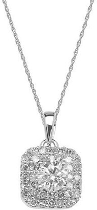 Lord & Taylor 14 Kt. White Gold & Diamond Pendant Necklace