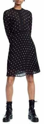 Maje Pleated Polka Dot Dress