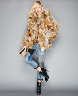 The Fur Vault Pieced Fox Fur Hooded Jacket