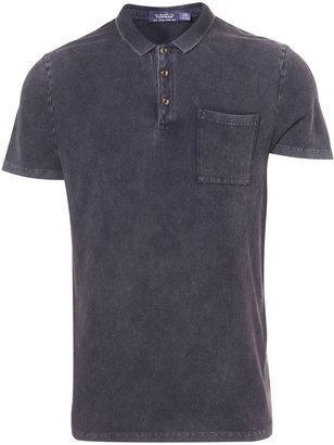 Topman Black Acid Wash Polo Shirt