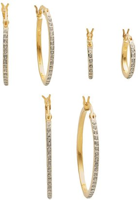 Mystique Diamond 18k Gold Over Silver Diamond Accent Hoop Earring Set