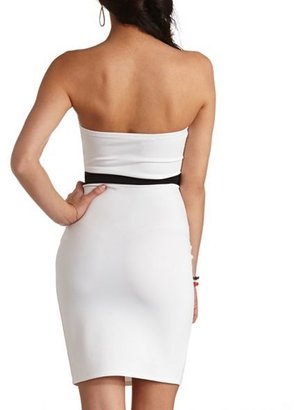 Charlotte Russe Two-Tone Bow Belt Strapless Midi Dress