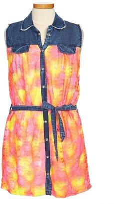 Flowers by Zoe Neon Denim Dress (Little Girls)