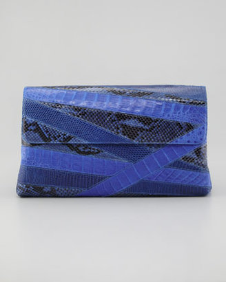 Nancy Gonzalez Crocodile and Python Oversized Flap Clutch, Cobalt Blue