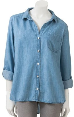 Apt. 9 drop-tail hem chambray shirt